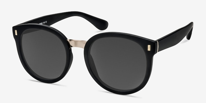Vedette Matte Black Metal Sunglass Frames from EyeBuyDirect, Angle View