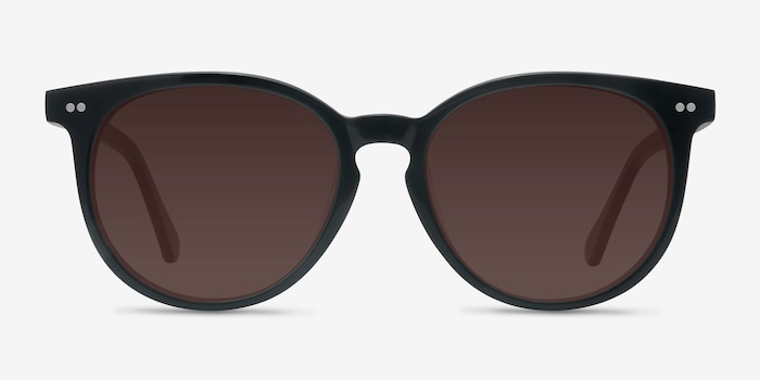 Meraki Black Acetate Sunglass Frames from EyeBuyDirect, Front View