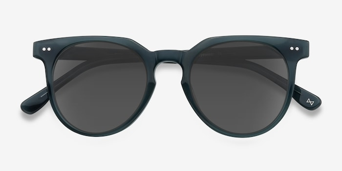 Shadow Viridian Acetate Sunglass Frames from EyeBuyDirect, Closed View