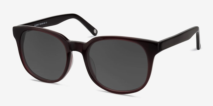 Tempest Purple Brown Acetate Sunglass Frames from EyeBuyDirect, Angle View