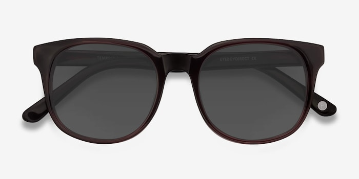 Tempest Purple Brown Acetate Sunglass Frames from EyeBuyDirect, Closed View