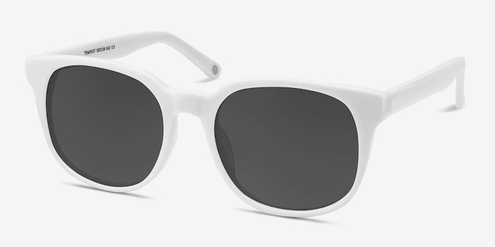 Tempest White Acetate Sunglass Frames from EyeBuyDirect, Angle View