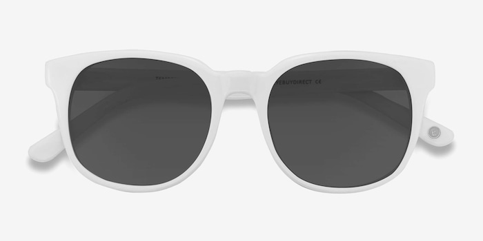 Tempest White Acetate Sunglass Frames from EyeBuyDirect, Closed View