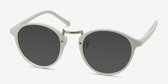Millenium White Plastic Sunglass Frames from EyeBuyDirect, Angle View