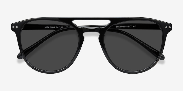 Meadow Black Plastic Sunglass Frames from EyeBuyDirect, Closed View
