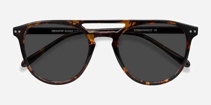 Meadow Tortoise Plastic Sunglass Frames from EyeBuyDirect, Closed View
