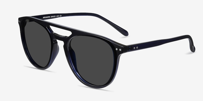 Meadow Navy Plastic Sunglass Frames from EyeBuyDirect, Angle View