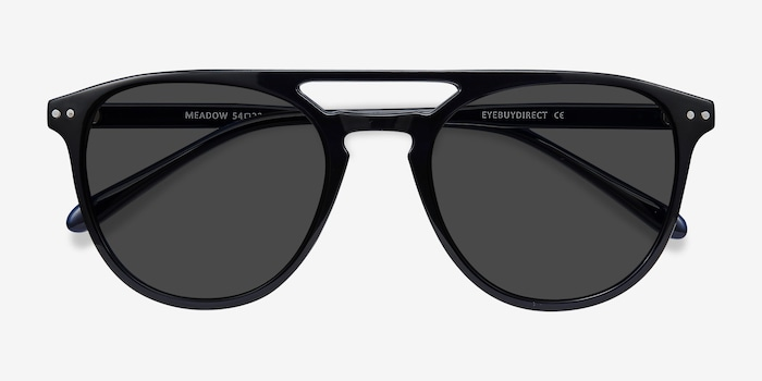 Meadow Navy Plastic Sunglass Frames from EyeBuyDirect, Closed View