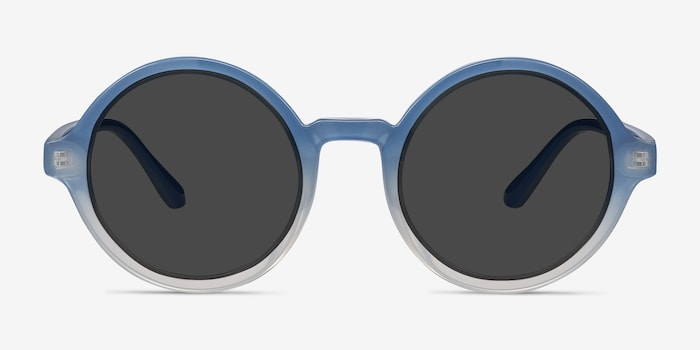 Solstice Blue Clear Plastic Sunglass Frames from EyeBuyDirect, Front View