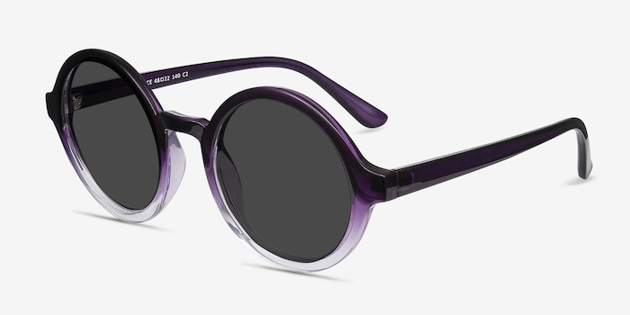 Solstice Purple Clear Plastic Sunglass Frames from EyeBuyDirect, Angle View