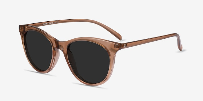 Cartel Clear Brown Plastic Sunglass Frames from EyeBuyDirect, Angle View