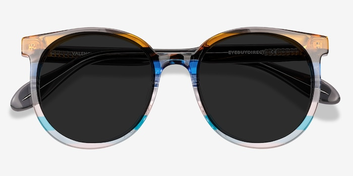 Valence Brown Blue Acetate Sunglass Frames from EyeBuyDirect, Closed View