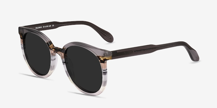 Valence Gray Brown Acetate Sunglass Frames from EyeBuyDirect, Angle View
