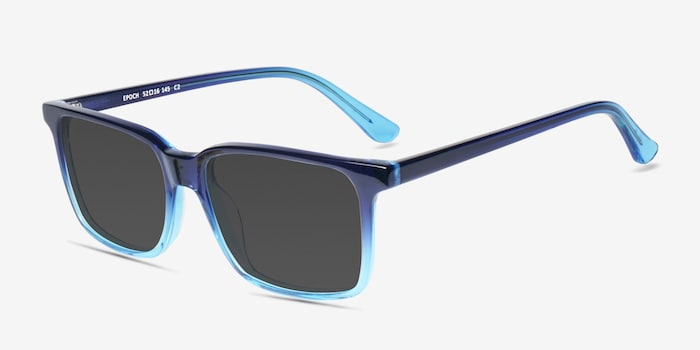 Epoch Blue Acetate Sunglass Frames from EyeBuyDirect, Angle View
