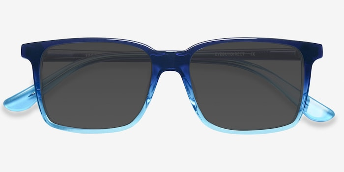 Epoch Blue Acetate Sunglass Frames from EyeBuyDirect, Closed View