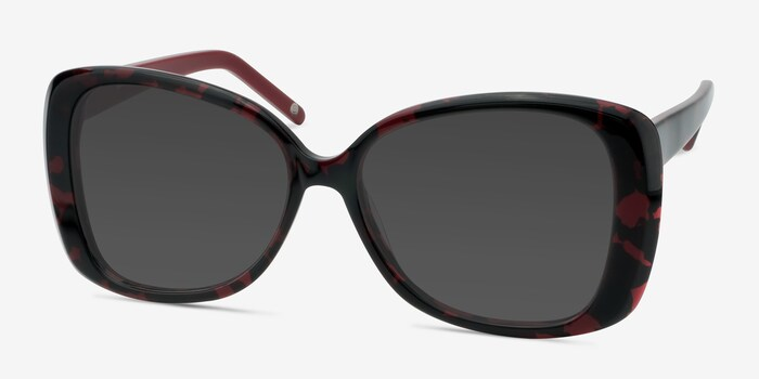 Marilyn Black Red Acetate Sunglass Frames from EyeBuyDirect, Angle View