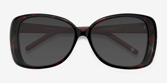 Marilyn Black Red Acetate Sunglass Frames from EyeBuyDirect, Closed View