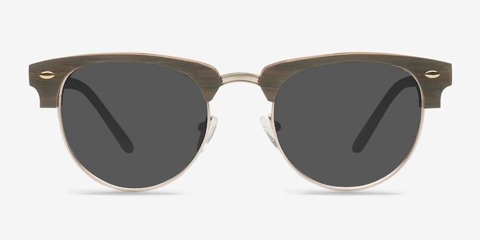 Walnut & Gold The Hamptons -  Vintage Wood Texture Sunglasses