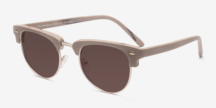 The Hamptons Oak & Silver Wood-texture Sunglass Frames from EyeBuyDirect, Angle View