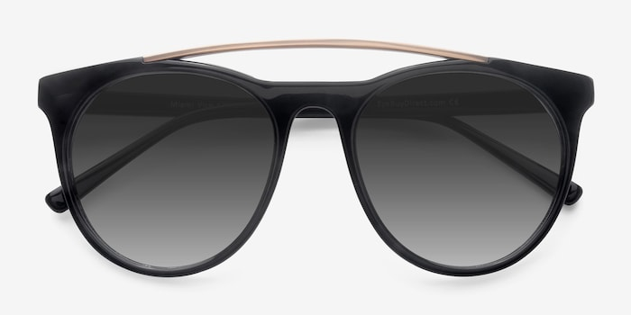 Miami Vice Black Acetate Sunglass Frames from EyeBuyDirect, Closed View