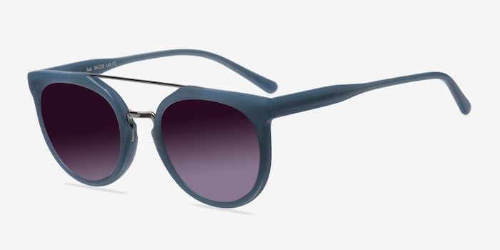 Bali Blue/Silver Acetate Sunglass Frames from EyeBuyDirect, Angle View