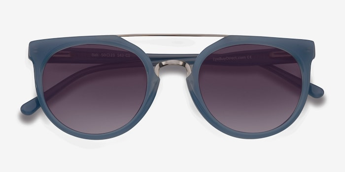 Bali Blue/Silver Acetate Sunglass Frames from EyeBuyDirect, Closed View