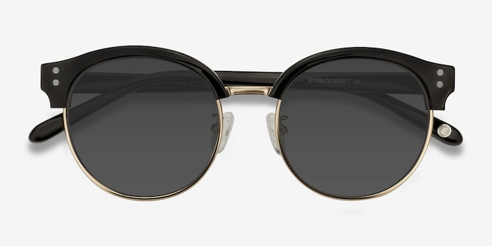 Limoncello Black Acetate Sunglass Frames from EyeBuyDirect, Closed View