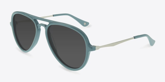 Riot  Light Blue  Acetate Sunglass Frames from EyeBuyDirect, Angle View