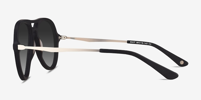 Riot Matte Black Acetate Sunglass Frames from EyeBuyDirect, Side View