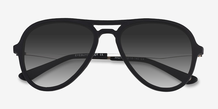 Riot Matte Black Acetate Sunglass Frames from EyeBuyDirect, Closed View