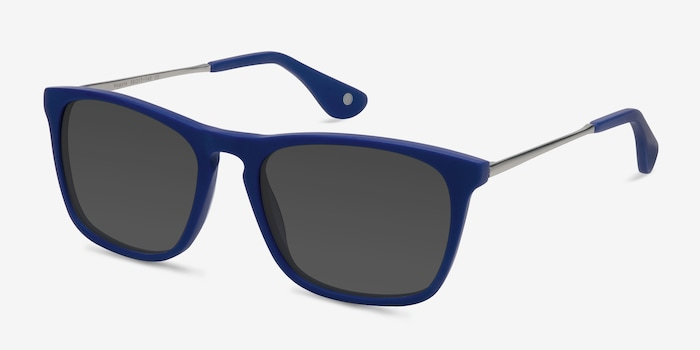 Bogota Matte Blue Acetate Sunglass Frames from EyeBuyDirect, Angle View