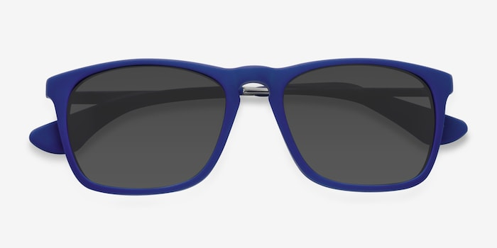 Bogota Matte Blue Acetate Sunglass Frames from EyeBuyDirect, Closed View