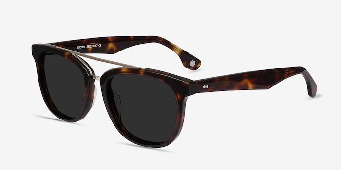 Crown Tortoise Acetate Sunglass Frames from EyeBuyDirect, Angle View