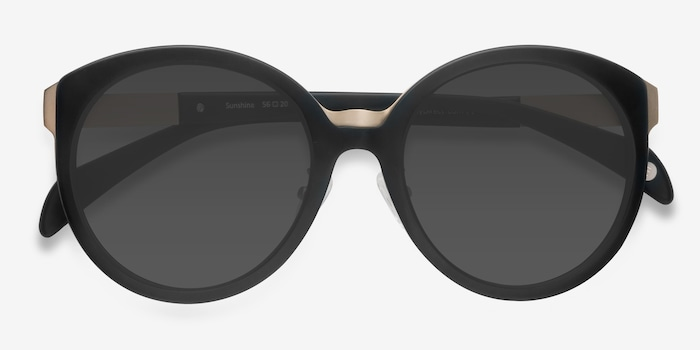 Sunshine Black Acetate Sunglass Frames from EyeBuyDirect, Closed View
