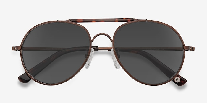 Nairobi Brown Acetate Sunglass Frames from EyeBuyDirect, Closed View