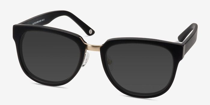 Haute Couture Matte Black Acetate Sunglass Frames from EyeBuyDirect, Angle View