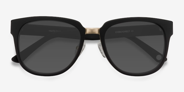 Haute Couture Matte Black Acetate Sunglass Frames from EyeBuyDirect, Closed View