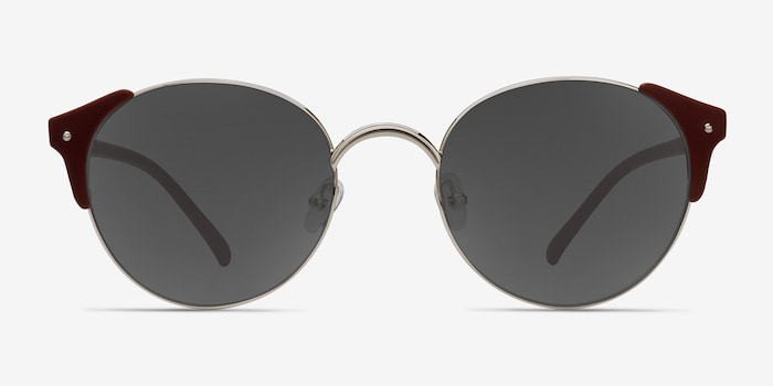 Miaou Silver Burgundy Metal Sunglass Frames from EyeBuyDirect, Front View