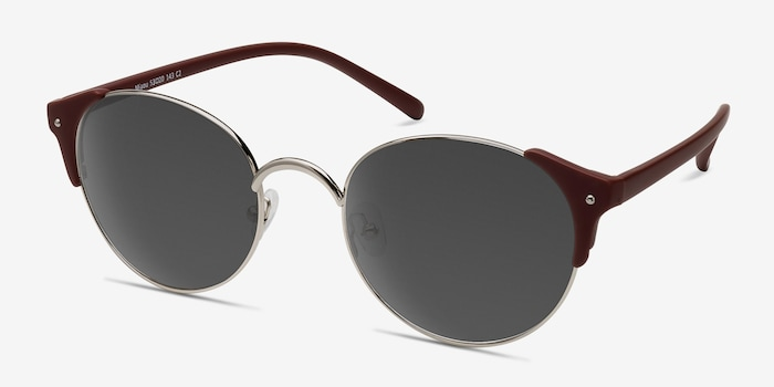 Miaou Silver Burgundy Metal Sunglass Frames from EyeBuyDirect, Angle View