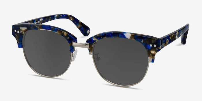 Swift Blue Mosaic Acetate Sunglass Frames from EyeBuyDirect, Angle View