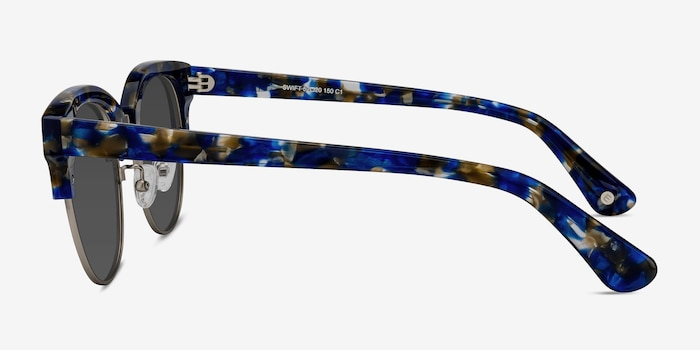 Swift Blue Mosaic Acetate Sunglass Frames from EyeBuyDirect, Side View