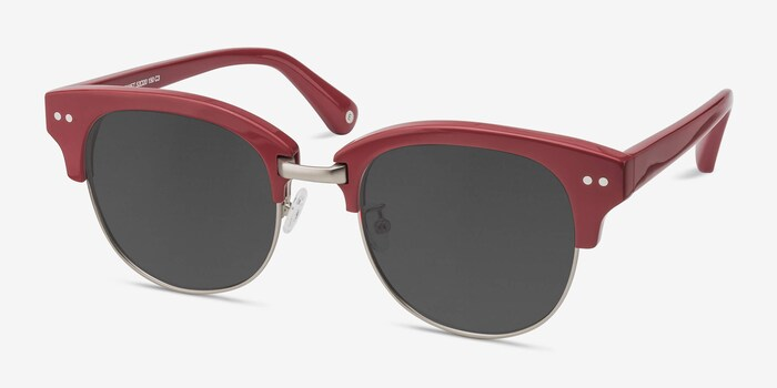 Swift Red Acetate Sunglass Frames from EyeBuyDirect, Angle View