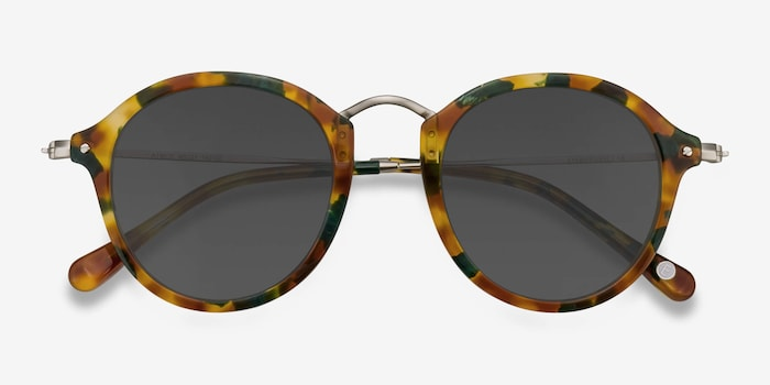 Atmos Green Floral Acetate Sunglass Frames from EyeBuyDirect, Closed View
