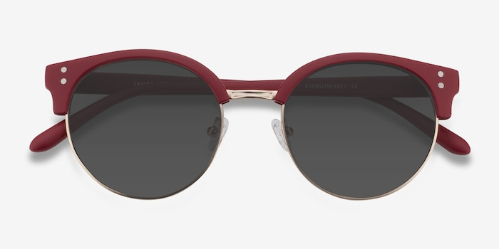 Samba Red Metal Sunglass Frames from EyeBuyDirect, Closed View