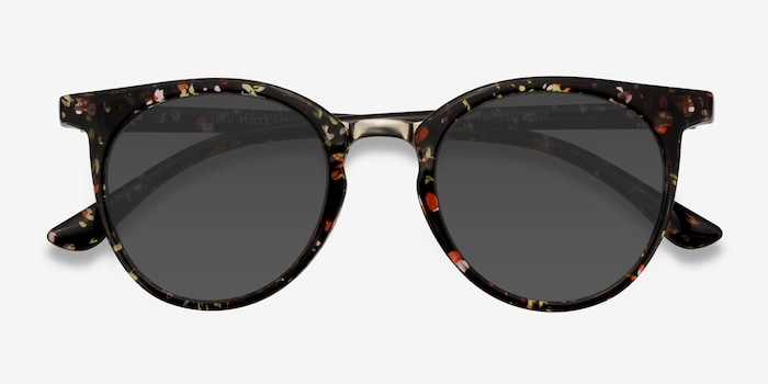 Lulu Floral Metal Sunglass Frames from EyeBuyDirect, Closed View