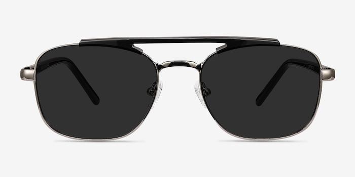 Decode Black Gunmetal Acétate Soleil de Lunettes d'EyeBuyDirect, Vue de Face