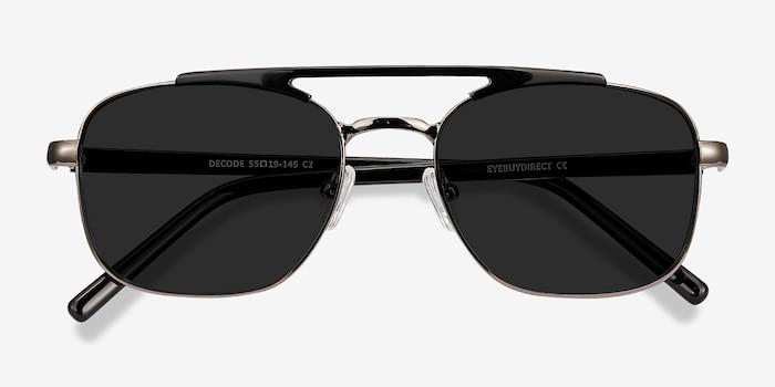 Decode Black Gunmetal Acétate Soleil de Lunettes d'EyeBuyDirect, Vue Rapprochée