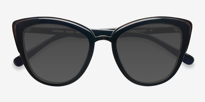 Cadenza Black Acetate Sunglass Frames from EyeBuyDirect, Closed View