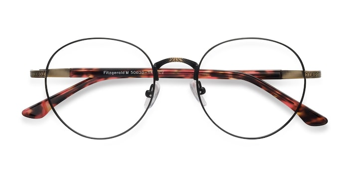 Matte Black and Tortoise Fitzgerald -  Vintage Metal Eyeglasses