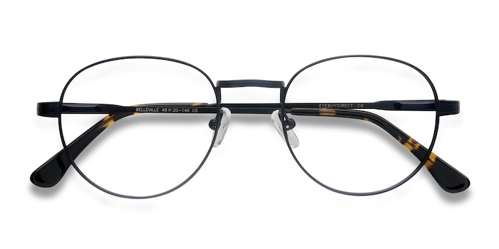 Navy Belleville -  Metal Eyeglasses